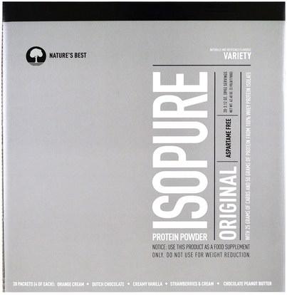 Natures Best, IsoPure, IsoPure Protein Powder, Original, Variety, 20 Packets, 3.12 oz (89 g) Each ,المكملات الغذائية، بروتين مصل اللبن
