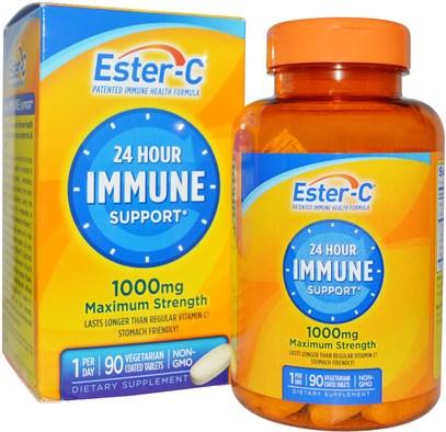 Natures Bounty, 24 Hour Immune Support, Maximum Strength, 1000 mg, 90 Tablets ,والصحة، والانفلونزا الباردة والفيروسية، ونظام المناعة
