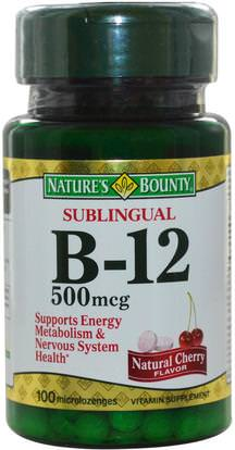 Natures Bounty, B-12, Sublingual, Natural Cherry Flavor, 500 mcg, 100 Microlozenges ,الفيتامينات، وفيتامين ب، وفيتامين ب 12، وفيتامين ب 12 - سيانوكوبالامين