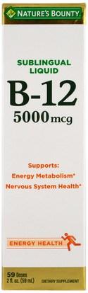 Natures Bounty, B-12, Sublingual Liquid, 5,000 mcg, 2 fl oz (59 ml) ,الفيتامينات، وفيتامين ب، وفيتامين ب 12، وفيتامين ب 12 - السائل