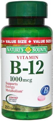 Natures Bounty, Vitamin B-12, 1000 mcg, 200 Coated Tablets ,الفيتامينات، وفيتامين ب، وفيتامين ب 12، وفيتامين ب 12 - سيانوكوبالامين