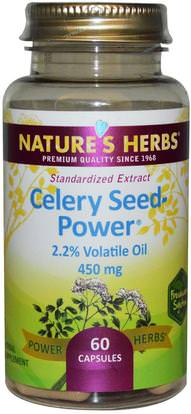 Natures Herbs, Celery Seed-Power, 450 mg, 60 Capsules ,الأعشاب، بذور الكرفس