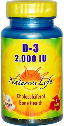 Natures Life, D-3, 2,000 IU, 120 Softgels ,الفيتامينات، فيتامين d3