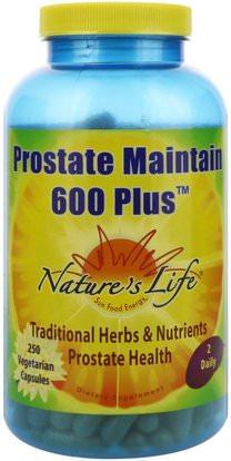 Natures Life, Prostate Maintain 600 Plus, 250 Vegetarian Capsules ,الصحة، الرجال، البروستاتا