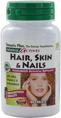 Natures Plus, Herbal Actives, Hair, Skin & Nails, 60 Tablets ,الصحة، المرأة، مكملات الشعر، مكملات الأظافر، مكملات الجلد