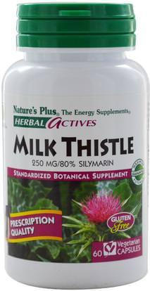 Natures Plus, Herbal Actives, Milk Thistle, 250 mg, 60 Veggie Caps ,الصحة، السموم، الحليب الشوك (سيليمارين)
