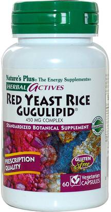 Natures Plus, Herbal Actives, Red Yeast Rice Gugulipid, 450 mg, 60 Veggie Caps ,والمكملات الغذائية، والأرز الخميرة الحمراء