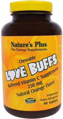 Natures Plus, Love Buffs, Chewable Buffered Vitamin C, Natural Orange Flavor, 250 mg, 90 Tablets ,الفيتامينات، فيتامين ج، فيتامين ج مضغ
