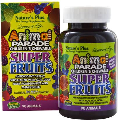 Natures Plus, Source of Life Animal Parade, Childrens Chewable Super Fruits, Natural Berry, 90 Animals ,المكملات الغذائية، مقتطفات الفاكهة، سوبر الفواكه