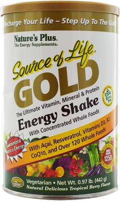 Natures Plus, Source of Life Gold, Energy Shake, Tropical Berry Flavor.97 lb (442 g) ,الصحة، مشروبات الطاقة مزيج