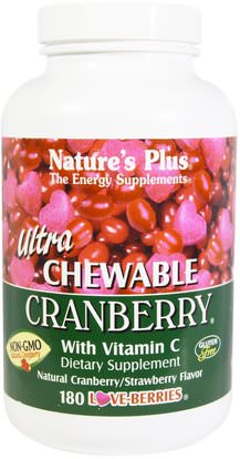 Natures Plus, Ultra Chewable Cranberry with Vitamin C, Natural Cranberry/Strawberry Flavor, 180 Love-Berries ,الأعشاب، التوت البري