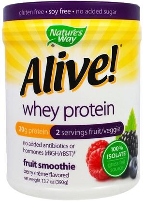 Natures Way, Alive! Whey Protein, Berry Creme Flavored, 13.7 oz (390 g) ,والرياضة، والمكملات الغذائية، بروتين مصل اللبن