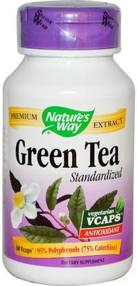 Natures Way, Green Tea, Standardized, 60 Veggie Caps ,والمكملات الغذائية، ومضادات الأكسدة