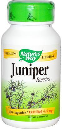 Natures Way, Juniper Berries, 425 mg, 100 Capsules ,الأعشاب، العرعر، الصحة البولية
