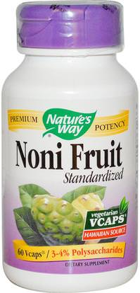 Natures Way, Noni Fruit, Standardized, 60 Veggie Caps ,المكملات الغذائية، الأعشاب، نوني استخراج عصير