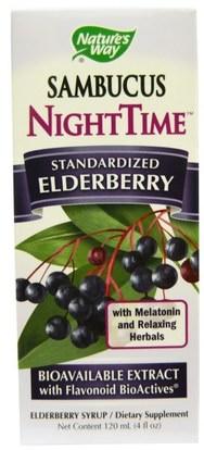 Natures Way, Sambucus, NightTime, Standardized Elderberry, 4 fl oz (120 ml) ,الصحة، الإنفلونزا الباردة والفيروسية، إلديربيري (سامبوكوس)