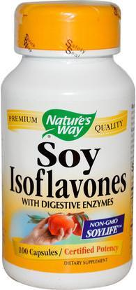 Natures Way, Soy Isoflavones, 100 Capsules ,والمكملات الغذائية، ومنتجات الصويا، الايسوفلافون الصويا، والصحة، وانقطاع الطمث