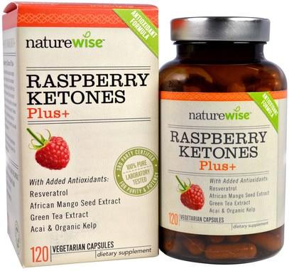 NatureWise, Raspberry Ketones Plus, 120 Veggie Caps ,وفقدان الوزن، والنظام الغذائي، كيتونات التوت