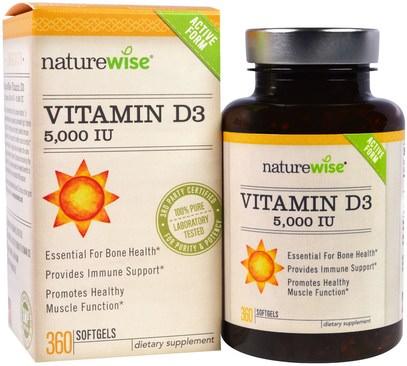 NatureWise, Vitamin D3, 5000 IU, 360 Softgels ,الفيتامينات، فيتامين d3