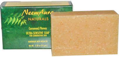 Neemaura Naturals Inc, Ultra-Sensitive Soap, Cornmeal/Honey, 3.30 oz (93 g) ,حمام، الجمال، الصابون، زيت