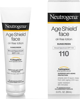 c32154765 حمام، الجمال، واقية من الشمس، سف 50-75, Neutrogena, Age Shield Face,  Oil-Free Sunscreen, SPF 110, 3 fl oz (88 ml)
