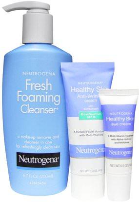 Neutrogena, Healthy Skin Anti-Wrinkle System, 3 Piece Set ,الجمال، كريمات العين، العناية بالوجه، نوع البشرة مكافحة الشيخوخة الجلد