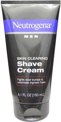 Neutrogena, Men, Skin Clearing Shave Cream, 5.1 fl oz (150 ml) ,الجمال، رجل العناية بالبشرة، كريم الحلاقة