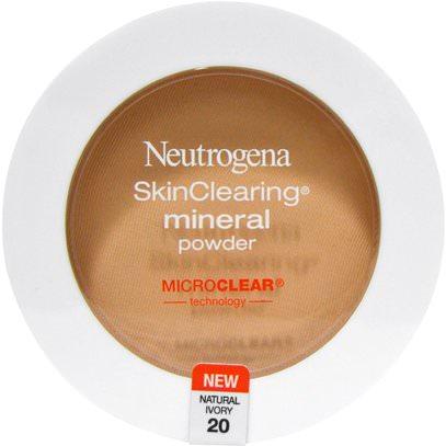 Neutrogena, SkinClearing Mineral Powder, Natural Ivory 20, 0.38 oz (11 g) ,نيوتروجينا حب الشباب، العناية بالوجه