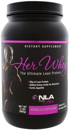 NLA for Her, Her Whey, Ultimate Lean Protein, Vanilla Cupcake, 2 lbs (905 g) ,والرياضة، والمنتجات الرياضية النسائية
