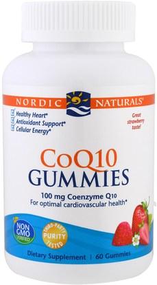 Nordic Naturals, CoQ10 Gummies, Strawberry, 100 mg, 60 Gummies ,المكملات الغذائية، أنزيم q10، coq10