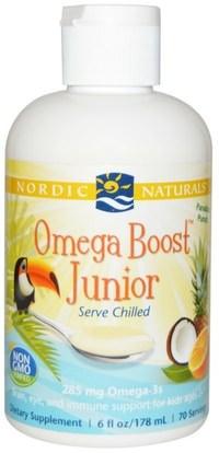 Nordic Naturals, Omega Boost Junior, Paradise Punch, 6 fl oz (178 ml) ,صحة الأطفال، مكملات الأطفال