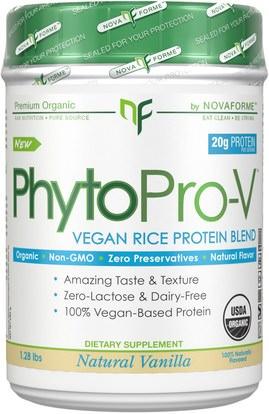 NovaForme, PhytoPro-V, Certified USDA Raw Organic Premium Vegan Rice Protein, Vanilla, 1.28 lbs (580 g) ,والمكملات الغذائية، والبروتين
