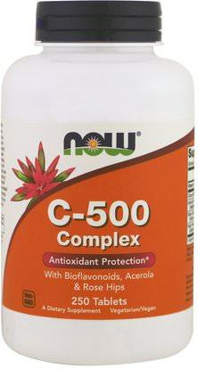 Now Foods, C-500 Complex, 250 Tablets ,الفيتامينات، فيتامين ج، الوركين الوردية