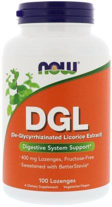 Now Foods, DGL, (De-Glycyrrhizinated Licorice Extract), 100 Lozenges ,المكملات الغذائية، الأحماض الأمينية، l الجلايسين، الصحة، قرحة