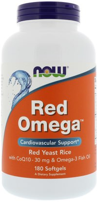 8877999e1 Now Foods, Red Omega, Red Yeast Rice with CoQ10, 30 mg, 180 Softgels ...