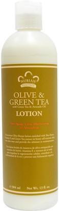 Nubian Heritage, Lotion, Olive & Green Tea, 13 fl oz (384 ml) ,حمام، الجمال، غسول الجسم