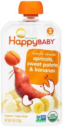 Nurture Inc. (Happy Baby), Organic Baby Food, Stage 2, 6+ Months, Apricots, Sweet Potato & Bananas, 4 oz (113 g) ,صحة الطفل، تغذية الطفل، الغذاء
