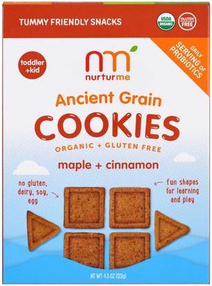 NurturMe, Organic Ancient Grain Cookies, Maple plus Cinnamon, 4.3 oz (122 g) ,صحة الطفل، تغذية الطفل، وجبات خفيفة الطفل والأصبع الأطعمة، طفل وجبات خفيفة