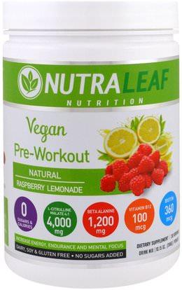 NutraLeaf Nutrition, Pre-Workout Drink Mix Powder, Vegan, Natural Raspberry Lemonade, 10.15 oz (288 g) ,والرياضة، والمكملات الغذائية، بكا (متفرعة سلسلة الأحماض الأمينية)