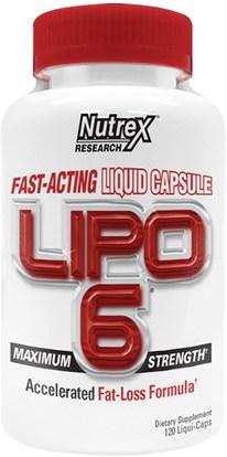 Nutrex Research Labs, Lipo 6, Maximum Strength, 120 Liqui-Caps ,Herb-sa