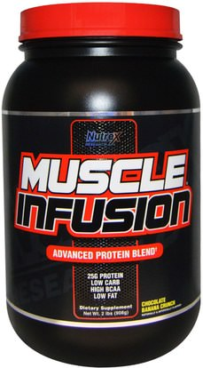 Nutrex Research Labs, Muscle Infusion, Advanced Protein Blend, Chocolate Banana Crunch, 2 lbs (908 g) ,والملاحق، والبروتين، والرياضة، والعضلات