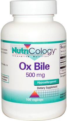 Nutricology, Ox Bile, 500 mg, 100 Vegicaps ,المكملات الغذائية، منتجات الأبقار، الإنزيمات، حمض الصفراء