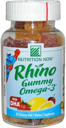 Nutrition Now, Rhino Gummy Omega-3, with DHA, 60 Gummy Fish ,منتجات حساسة للحرارة، والمكملات الغذائية، أوميغا 369 غوميز