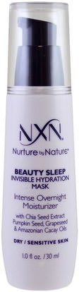 NXN, Nurture by Nature, Beauty Sleep Invisible Hydration Mask, Dry / Sensitive Skin, 1 fl oz (30 ml) ,الجمال، العناية بالوجه، أقنعة الوجه