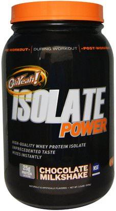 Oh Yeah!, Isolate Power, Chocolate Milkshake, 2 lbs (908 g) ,المكملات الغذائية، بروتين مصل اللبن