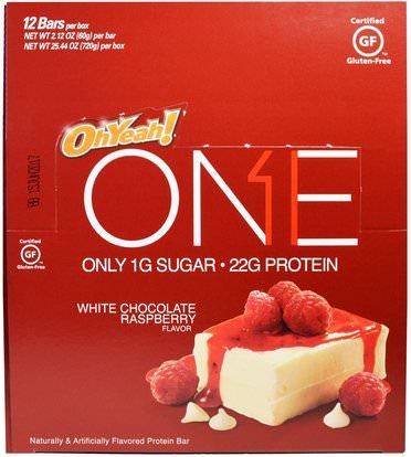 Oh Yeah!, One Bar, White Chocolate Raspberry, 12 Bars, 2.12 oz (60 g) Each ,والرياضة، والبروتين أشرطة