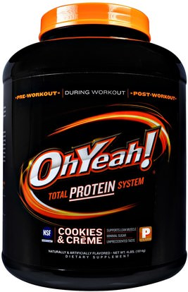 Oh Yeah!, Total Protein System, Cookies & Creme, 4 lbs (1814 g) ,المكملات الغذائية، بروتين مصل اللبن، تجريب