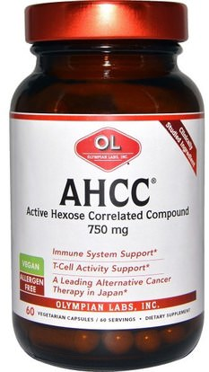 Olympian Labs Inc., AHCC, 750 mg, 60 Veggie Caps ,والمكملات الغذائية، والفطر الطبية، أهك، والصحة، والانفلونزا الباردة والفيروسية، جهاز المناعة