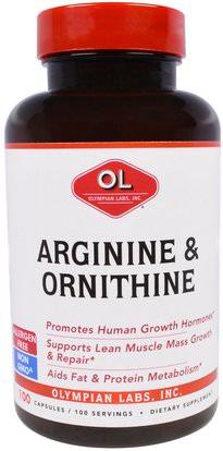 Olympian Labs Inc., Arginine & Ornithine, 100 Capsules ,والرياضة، والعضلات