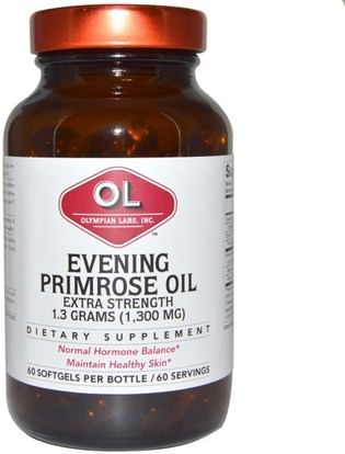 Olympian Labs Inc., Evening Primrose Oil, Extra Strength, 1,300 mg, 60 Softgels ,المكملات الغذائية، إيفا أوميجا 3 6 9 (إيبا دا)، زيت زهرة الربيع المسائية